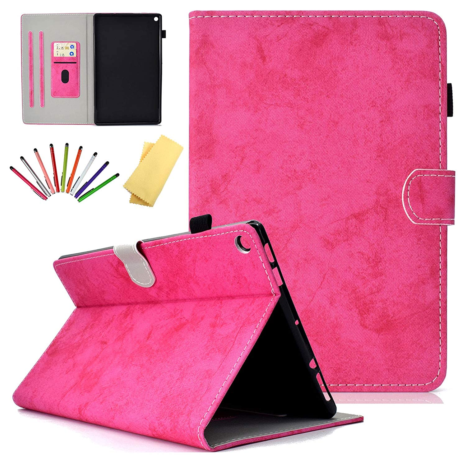 Uliking Folio Stand Case for Amazon Fire HD 10 2017/2015 (7th /5th Generation), Smart PU Leather TPU Shockproof Cover with Card Pencil Holder [Auto Sleep/Wake] for Kindle Fire HD 10.1