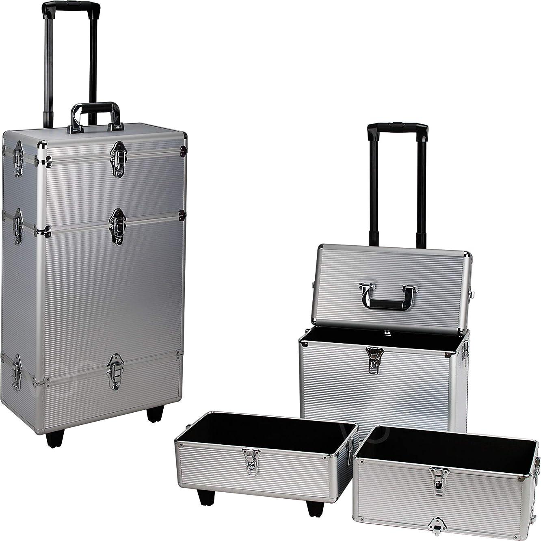 Ver Beauty DC6601STSL 3 Large Rolling Trolley Art Craft Tool Case Organizer Storage Portable Box Lockable – C6601, Silver Stripe