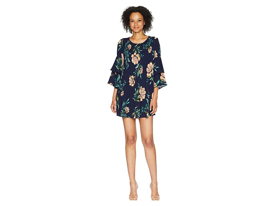 American Rose Briar Ruffle Sleeve Floral Dress (Navy/Multi) Women