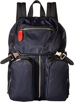 Neil Barrett Solid Nylon Flap Backpack