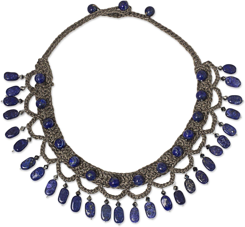 NOVICA Lapis Lazuli Collar Necklace, 15