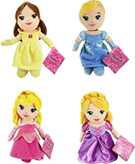 "Disney Princess Super Soft Velboa Plush Toy 8"" 20cm - Belle, Cinderella, Aurora & Rapunzel - Set of 4"