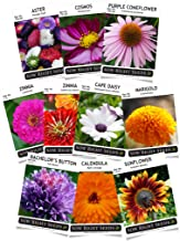 Sow Right Seeds - Flower Seed Garden Collection - Sunflower, Marigold, Zinnia, Cosmos, Daisy, Calendula, Coneflower, Bachelor Button, and Aster Flowers; Full Instructions for Planting, Gardening Gift