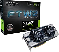 EVGA GeForce GTX 1070 FTW2 Gaming, 8GB GDDR5, iCX Technology - 9 Thermal Sensors & RGB LED G/P/M, Asynch Fan, Optimized Airflow Design Graphics Card 08G-P4-6676-KR