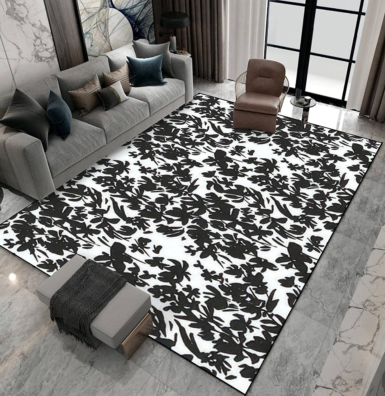 Area Rug Non-Slip Floor Mat Flower Monochrome Clearance SALE! Limited time! Max 71% OFF Silho Shabby Vibes