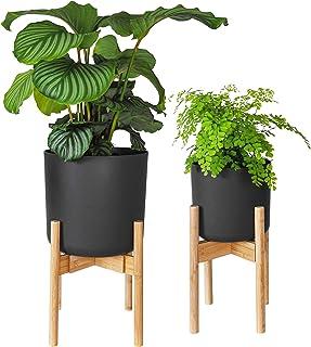 Gadgy Stojak na kwiaty drewniany   Zestaw 2 sztuk Bambusowy Stojak na rośliny   Regulowany stojak na doniczki z kwiatami d...