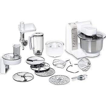 Bosch MUM48140DE - Robot de cocina (versatilidad mediante varios accesorios, cuenco grande para mezclar, 4 niveles, 600 W), color blanco