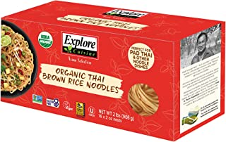 Explore Cuisine Organic Thai Brown Rice Noodles - Family Pack - 2 lbs - Healthy, Whole-Grain Pasta Alternative - Easy to M...