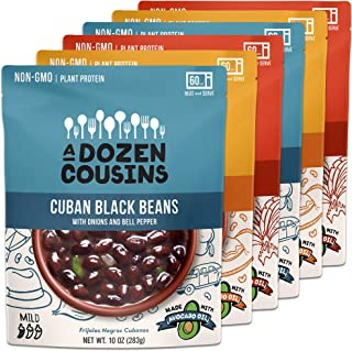 A Dozen Cousins Ready to Eat Beans - Vegan Food, Plant Protein for Meals - Cuban Black Beans, Mexican Cowboy Beans, Trini Chickpea Curry - Variety - 10 ounce (Pack of 6)
