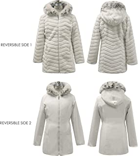 Gallery Girls' Big Casual Mid Length Reversible Hooded Faux Fur Parka