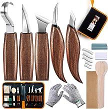 SIMILKY 5 en 1 Ensemble d'outils de sculpture sur bois, Couteau à crochet, Couteau en bois, Couteau à grain, Couteau incli...