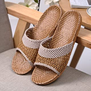 YAOLUU Summer Slippers Mujeres for Hombre Unisex algodón Lavable Zapatillas for el hogar Zapatos Interiores de Lino Casual...