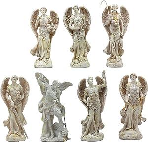 "Ebros Ivory Colored Orthodox Christian Church Seven Archangels Statue Set 5""Tall Michael Gabriel Raphael Sealtiel Barachiel Uriel Jegudiel Collectible Figurine Set"