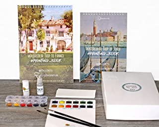 2 Products: Watercolor Kit Italy & France tutorials Fabriano Paper Insparea Art Coloring Book Palette Paint DIY Kit
