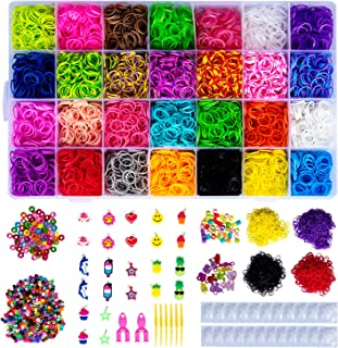 HOMEIDOL 13000+ Rainbow Rubber Bands Refill Kit, 12400 Loom Bands, 34 Charms, 675 Beads, 750 S-Clips, 10 Crystal Pendant,2 Y Loom,6 Crochet, Perfect Set for Prepare for Glory DIY