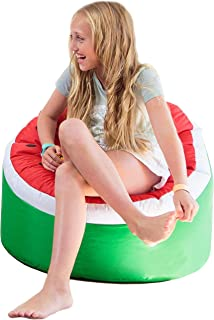Rickety Rock Bean Bag Chair for Kids - Stuffed Animal Storage, Bean Bag Cover for Child Indoor Outdoor Waterproof Polyester, Watermelon