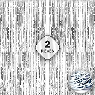 Xtra Large, Silver Fringe Curtain - 3.2 x 10 Feet | Pack of 2 | Metallic Silver Backdrop Curtain for Parties | Tinsel Foil...