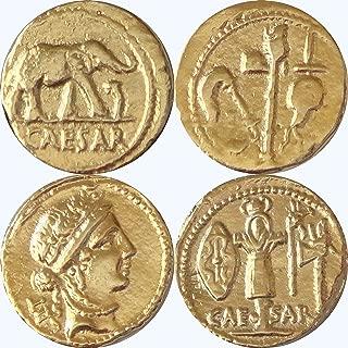 Golden Artifacts Julius Caesar, 2 Most Famous Roman Coins, Collectible Coin Sets, Roman Empire, 2 Coins (28+29-G)