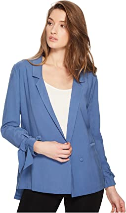 Notched Lapel Soft Jacket with Sleeve Ties