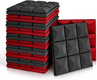 """Sponsored Ad - Amari Bliss Acoustic Foam Panels, 12 Pack Set 12"""" X 12"""" X 2"""" Black and Red Studio Wedge Tiles, Sound Absorb..."""
