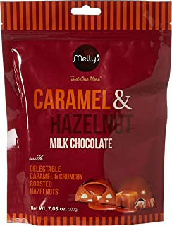 Melly's Caramel and Hazelnut Milk Chocolate, 200 gm, Pack of 12