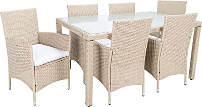 Safavieh Outdoor Collection Jolin Wicker Cushion 7-Piece Dining Set PAT7706B-3BX, Beige/White