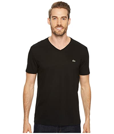Lacoste Short Sleeve V-Neck Pima Jersey Tee (Black) Men
