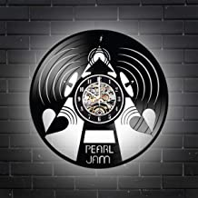 Levescale Pearl Jam Lighted Vinyl Wall Clock - Exclusive Music Design - Perfect Rock Gift for Man Or Boy - Decoration for Living Room,Cafe, Club - Band Store Day Seattle (White)