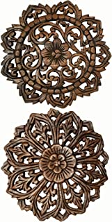 Asiana Home Decor Set of 2 Round Carved Wood Wall Art. Oriental Carved Lotus Round Wood Plaque in Brown Finish Size 12