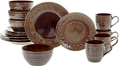 Certified International 89087 Aztec Brown 16 piece Dinnerware Set, Service for 4, Multicolored