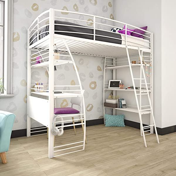 DHP 4016129 Studio Twin Loft Integrated Desk And Shelves White Bed