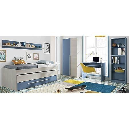 Miroytengo Pack mobiliario Dormitorio Juvenil Completo Color Azul habitación Infantil somieres incluidos (Cama + Estante + Armario + Mesa + ...