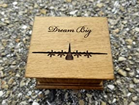 Custom engraved wooden music box with an airplane and Dream Big engraved on top and for a special request the bottom side of the box as well. Great gift for son.