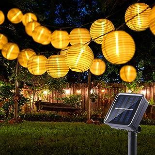 BrizLabs Farolillos Solares Exterior 6m 30 LED Guirnaldas Luces Exterior Solares Blanco Cálido Cadena de Luces Linternas Exteriores para Decoración Jardines, Navidad, Casa, Fiestas, Bodas, Patio