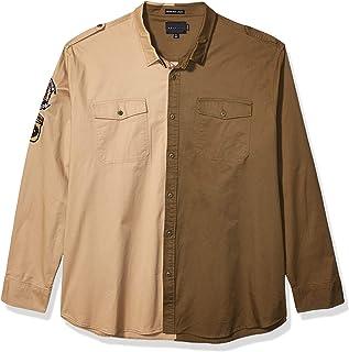 Sean John Men's Long Sleeve Blocked Twill Shirt