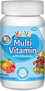 YUM-V's MultiVitamin Chewable Jellies (Gummies) for Kids, Fruit Flavor (60 Ct); Dietary Supplement w/Vitamins & Minerals- ...