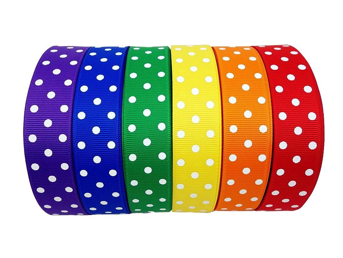 30 Yards (6 X 5yd) 7/8 Inch Polka Dots Grosgrain 6 Colors Ribbon