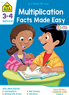 School Zone - Multiplication Facts Made Easy Workbook - 32 Pages, Ages 8 to 10, 3rd Grade, 4th Grade, Multiplication Table...
