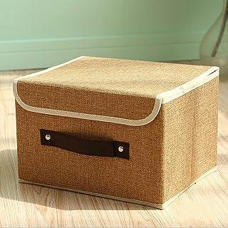 CNYG Boîte de rangement pliable en coton et lin avec poignée - Marron - 30 x 27 x 21 cm