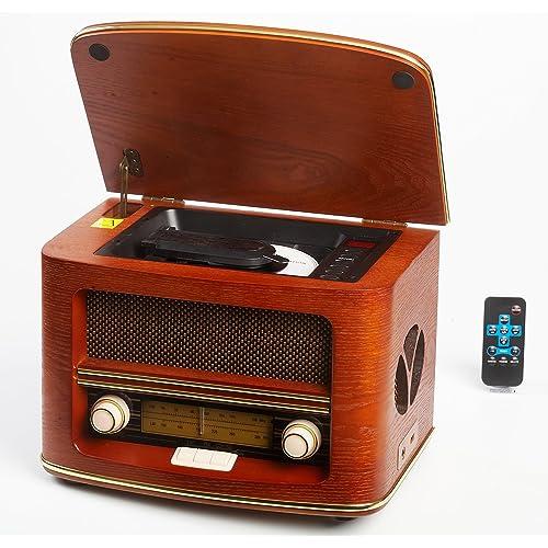 Radio Antigua Vintage Madera Autentica, Radio CD MP3,Retro USB Connector, FM - LW  Color Madera Radio Hogar con Control Remoto, Radio de los Muebles Caseros, Sala de Estar, Cocina  Diseño exclusivo