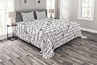 Ambesonne Music Bedspread, Abstract Style Professional Music Pattern with Notes and Clef Sheet Play Writing, Decorative Quilted 3 Piece Coverlet Set with 2 Pillow Shams, Queen Size, White Dark Grey