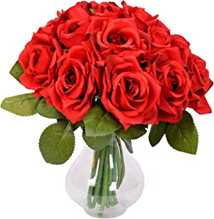 Aonewoe Rose Artificial Flowers 2 Bouquet 18Heads Rose Bridal Bouquets for Her Wedding Banquet Home Decoration (Red,No Vase)