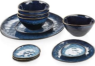 vancasso, Série Starry, Service de Table en Céramique 11 pièces pour 4 Personnes, 1 Assiette de Présentation de 33 cm, 2 A...