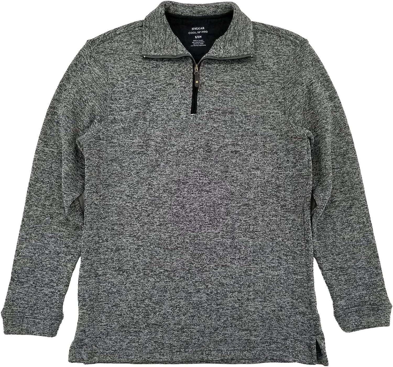 Haggar Mens Caviar Gray Fleece Quarter-Zip Pullover Sweater Jacket