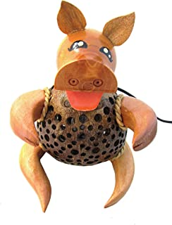 Pig Lamp for Kids Coconut Shell Lamp Thailand Handmade Natural Wood Bedside Cute Animal Light Night