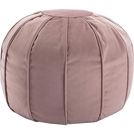 Wovenbyrd 20 Inch Tufted Round Pouf Ottoman Pink Velvet Furniture Decor