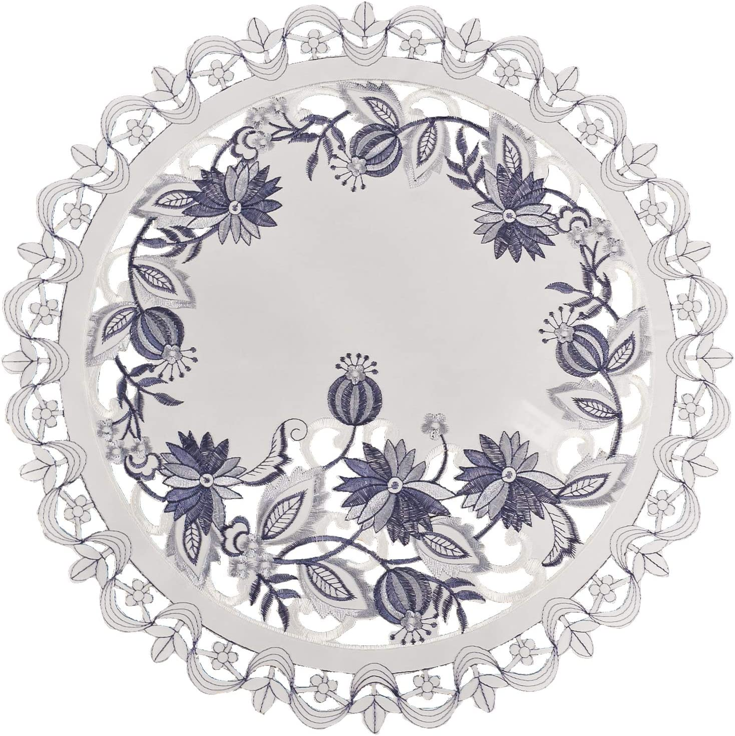 Linens, Art and Things Embroidered Delft Blue Onion Flower Place Mat Doily 16 Inch Round