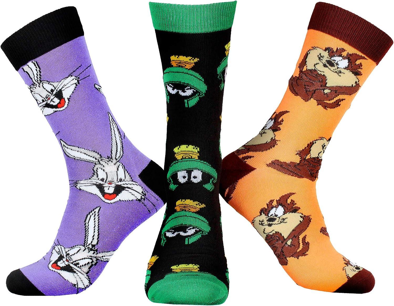 WB Looney Tunes Character Men's Bugs Bunny Taz Marvin The Martian 3 Pair Casual Crew Socks Mid Calf
