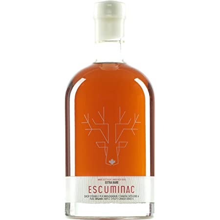 Award Winning Escuminac Extra Rare Maple Syrup 16.9 fl oz (500ml) Canada Grade A - Amber Rich Taste – Unblended Pure, Organic, Single Origin, Delicate, Velvety. A Sweet Gift For Any Occasion