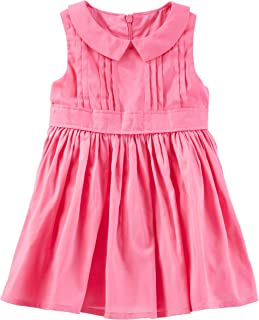 OshKosh BGosh Baby Girls 2 Piece Tiered Pintuck Ruffle Hem Dress 12 Mont Pink